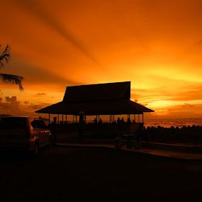 Sunset at Sungai Duri by Mulawardi Sutanto - Landscapes Sunsets & Sunrises ( indonesia, sunset, sungai duri, view, travel, borneo )
