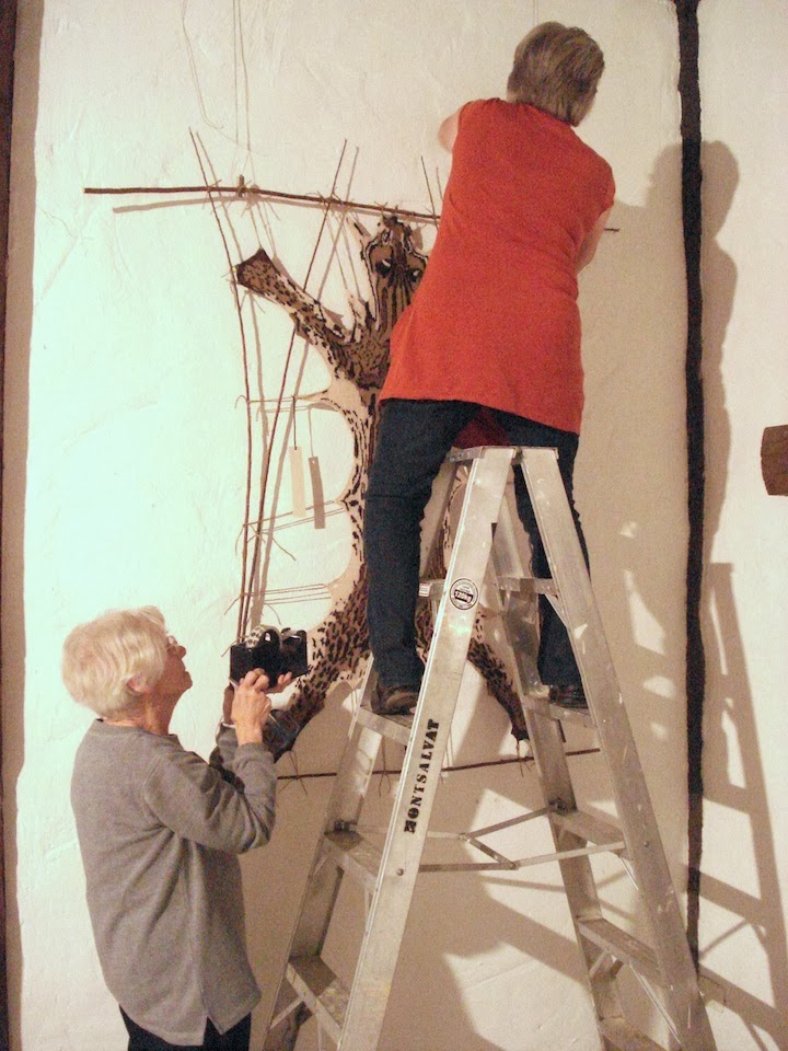 Photo: Here's me mum!  Helping me hang the show with our good friend Anne who is on the ladder.  Photo credit : Ruth Marshall