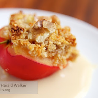 Almond – Walnut Topped Plums with a Soy Custard.