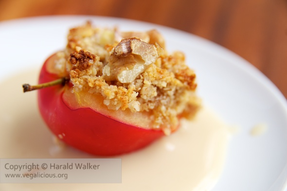 Almond – Walnut Topped Plums with a Soy Custard