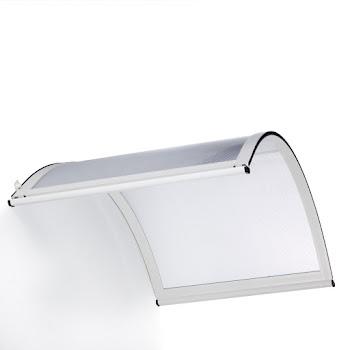 Auvent marquise de porte Basic, 160 x 90 cm, vouté, verre transparent polycarbonate, fixations aluminium blanc