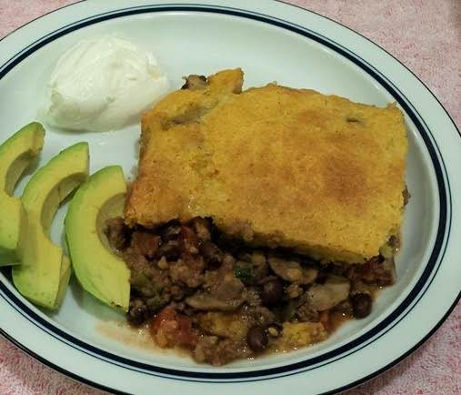 Beef And Black Bean Cornbread Casserole