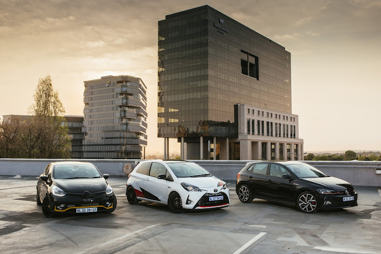 From left: Renault Clio RS18 F1, Toyota Yaris GRMN and VW Polo GTI.