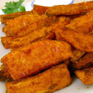 Spiced Sweet Potato Wedges w/ A Creamy Garlic Yogurt Dip.