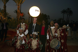 Photo: Nick Keslo, Senior Communications Manager Philips Lighting Africa, together with Natasha Davidson, Area Marketing Officer Africa, with local musicians @ Solar Site in Marrakech, Morocco.  For more info about the event http://bit.ly/L4QNi1