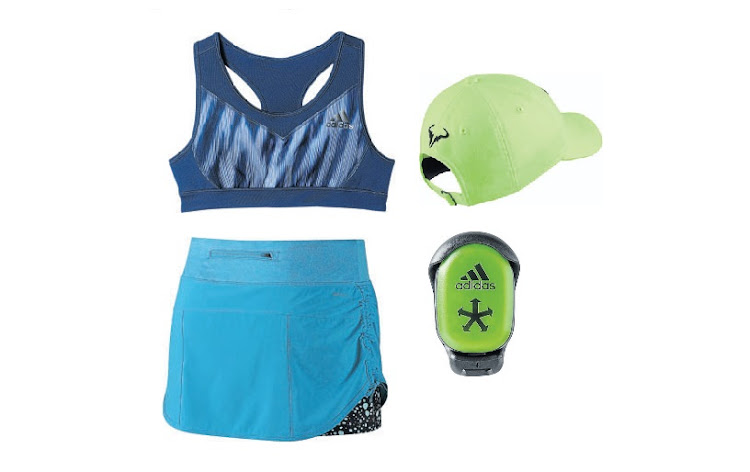 Clockwise from top left: adidas sports bra; NikeCourt AeroBill H86 Rafael Nadal; adidas miCoach Speed_Cell Bluetooth Smart Compatible Training Monitor; Nike Rival Stretch Woven Tennis Skirt.