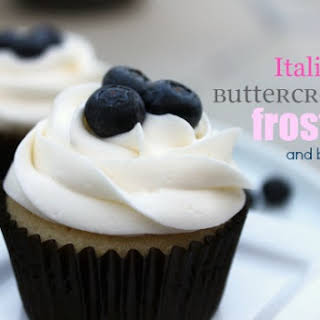 Vanilla Cupcakes with Blueberry Frosting.