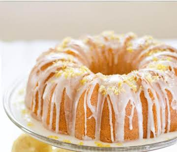 Super moist buttermilk lemon pound cake with glaze