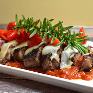Steak w/ Marinara, Mozzarella, & Peppadew Peppers.