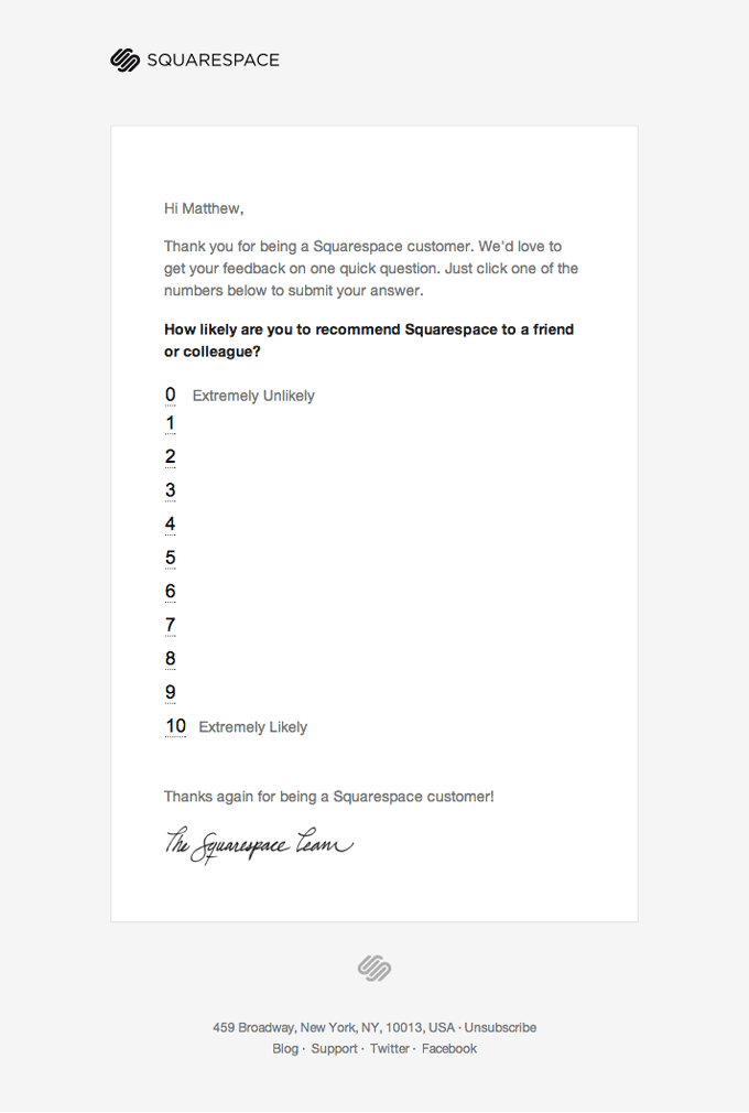 SQUARESPACE how likely are you to recommend us customer satisfaction measuring email sample