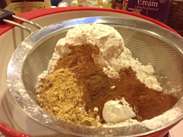 Add flour to a sifter, and add in the salt, spices & baking soda...