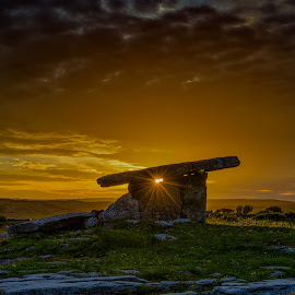 Poulnabrone dolmen 24-07-2017 by John Holmes - Landscapes Caves & Formations ( limestone, clouds, poulnabrone, tomb, ireland, grass, world heritage site, stone age, sky, sunset, burran, clare, dolman, monument, evening, rocks, acncient, pavements )