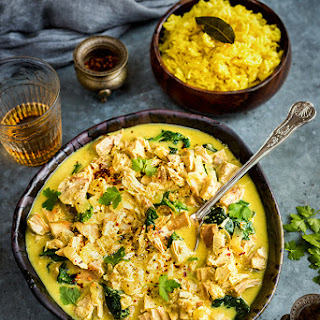 Leftover turkey Korma with golden rice