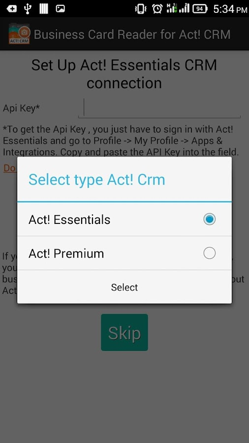 Biz Card Reader Act! CRM- screenshot
