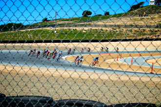 Photo: Spring Break for the Bike Industry with racing, rides, and an expo. This is the Women's field on the track.