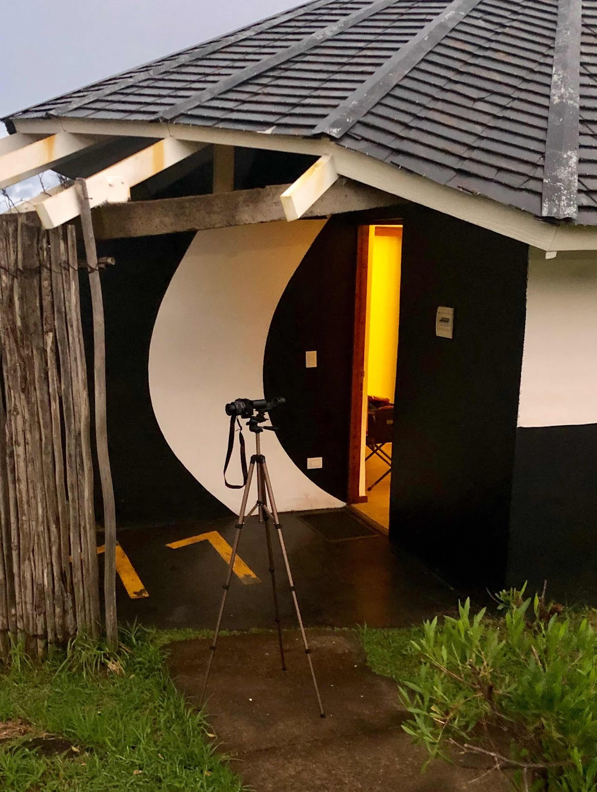 Set up tripod and camera right outside cabin door on Rapa Nui