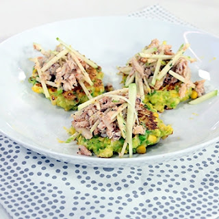 Sweet Corn And Pea Fritters With Crab And Apple Salad