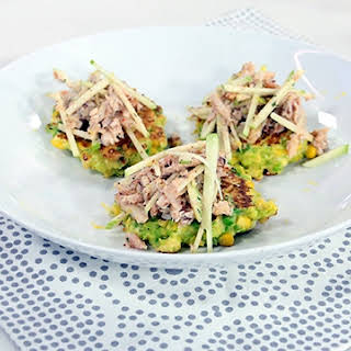 Sweet Corn And Pea Fritters With Crab And Apple Salad.
