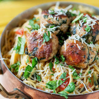 Spinach Turkey Meatball Pasta.