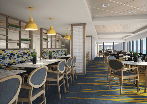 norwegian-bliss-Garden-Cafe.jpg - The complimentary indoor restaurant Garden Café serves up breakfast, lunch and dinner in a setting with picturesque ocean views.