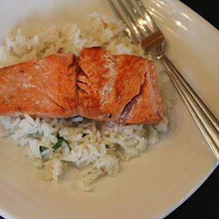 Pan Cooked Salmon with Cilantro Lime Rice.