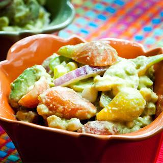 Heirloom Tomato, Corn and Avocado Salad w Chipotle Dressing