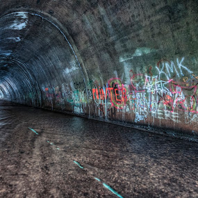 The Tagged Tunnel (alternate) by Aaron Campbell - Backgrounds Industrial ( canon, stream, luzerne county, aaron glenn campbell, google, 550d, 19th, ashley, reflections, blur, spring, tonemapping, color efex pro, eos, viveza, nature, sigma, graffiti, friday, rebel, dfine, t2i, motion, wyoming valley, 3xp, water, solomon creek, kiss x4, april, 2013, hdr, textures, aaroncampbell.me, nik collection, borough, pennsylvania, nepa, 10-20mm f/4-5.6 ex dc hsm, high dynamic range, photomatix pro, tagged, slow shutter )