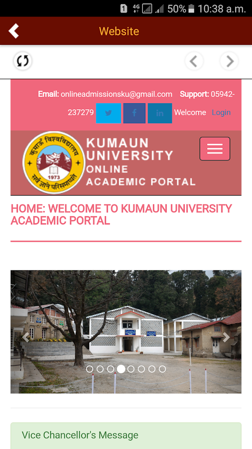 Kumaun University Admissions- screenshot