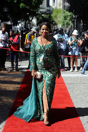Mrs Africa Globe 2019 Lucia Ochan at the 2019 state of the nation address.