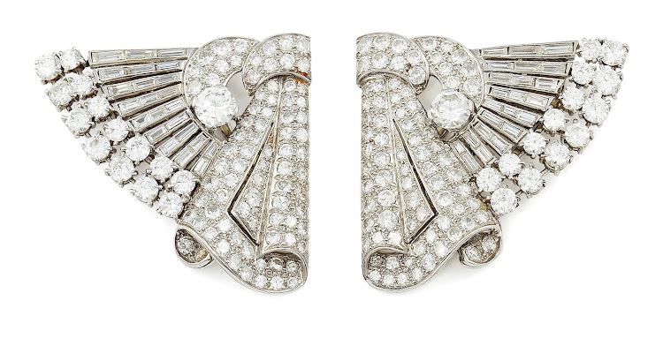 Vivienne Linder diamond dress clips, sold in 2012.