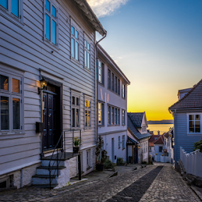 Streets of Bergen by Paulius Bruzdeilynas - City,  Street & Park  Vistas ( bergen, houses, peaceful, sony alpha, street, old town, restful, travel, spring, norway, city, sony, sky, cosy, norwegian, sunset, streets of bergen, norge, downtown )