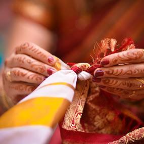 Knot by Sudheer Hegde - Wedding Bride & Groom ( 85mm, white, bokeh, knot, hand, colour, red, d800, wedding, india, nikon, bride, groom )
