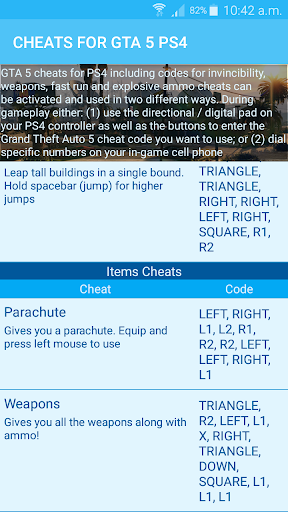 Cheats for GTA 5 - Unofficial 1.0 screenshots 3