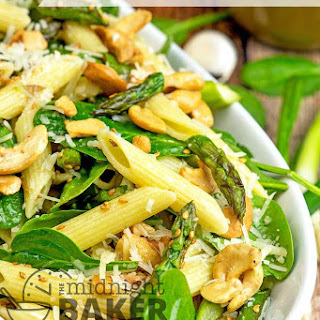 Roasted Asparagus And Spinach Pasta Salad.