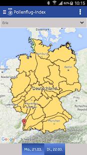 Pollenflug-Gefahrenindex Screenshot