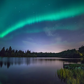 A night under the aurora sky  by Grete Øiamo - Landscapes Weather ( water, sky, night photography, waterscape, northern lights, aurora borealis, night )