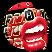 Black Golden Red Lip Keyboard Theme APK for Bluestacks