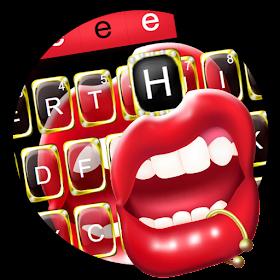 тема для клавиатуры Black Golden Red Lip