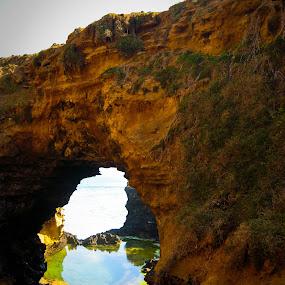 Grotto by Israel  Padolina - Novices Only Landscapes ( window, natural frame, sea, rock, rock formation, landscape )