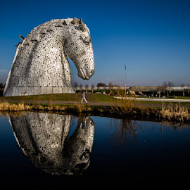Kelpies Horse by Andrew Lancaster - Buildings & Architecture Statues & Monuments ( sky, kelpies, reflection, beauty, large, metal, monument, water, people, falkirk, structure, horse, beautiful, helix, canal,  )