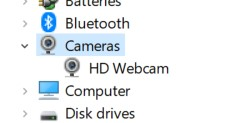 Cameras section in Device Manager