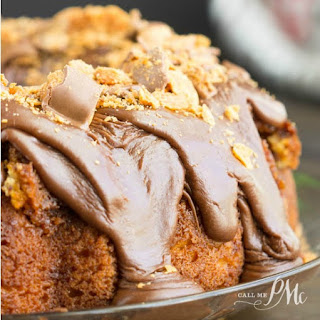 Cake Mix Butterfinger Pound Cake With Chocolate Ganache.