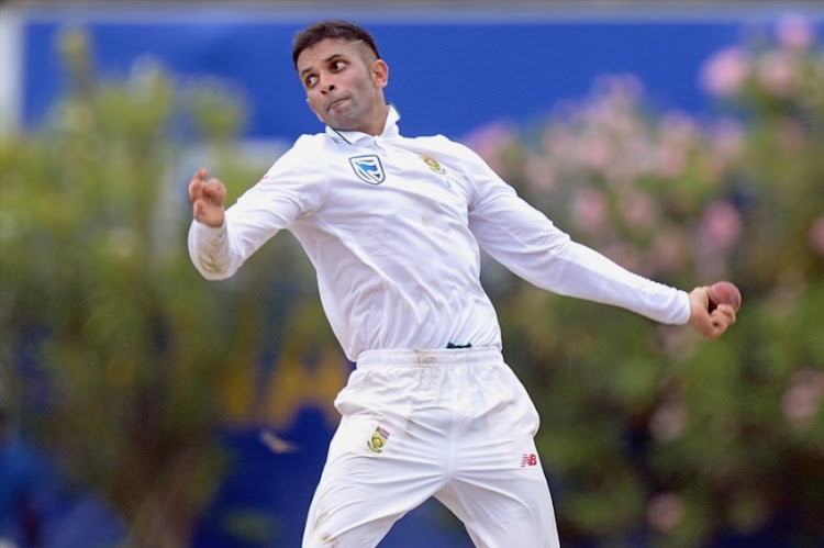 South African bowler Keshav Maharaj bowling during day 1 of the 1st Test match between Sri Lanka and South Africa at Galle International Stadium on July 12, 2018 in Galle, Sri Lanka.