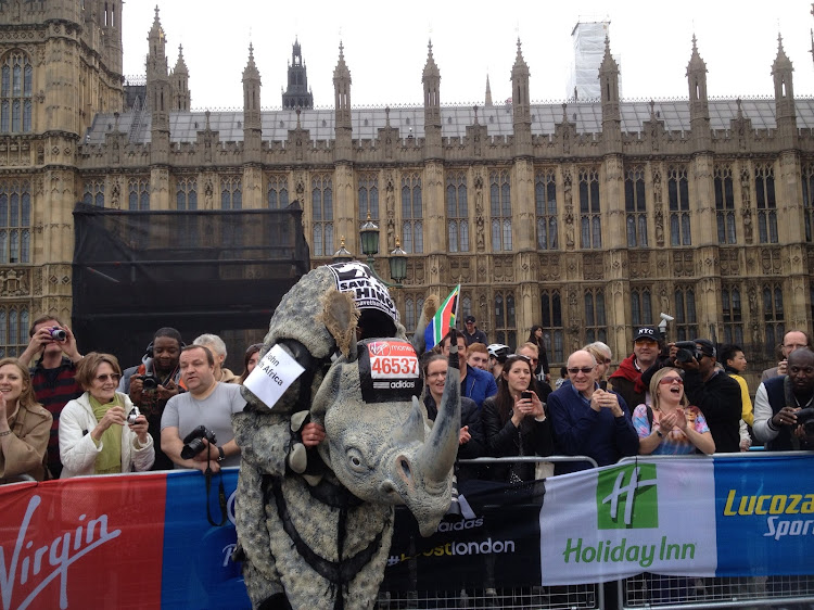 John Black ran the 2013 London Marathon in a rhino suit and raised about R100,000. Now he's training to climb the highest mountain in Antarctica - in his rhino suit.