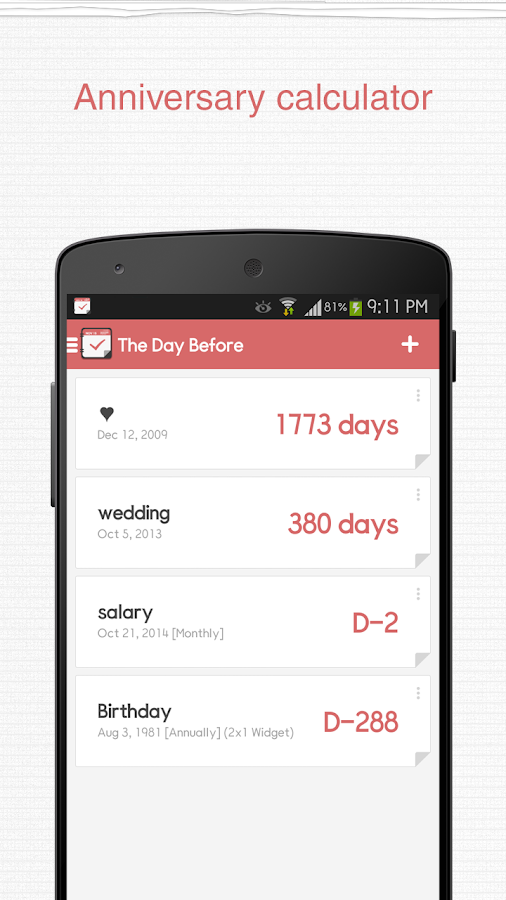 TheDayBefore (D-Day widget) - screenshot