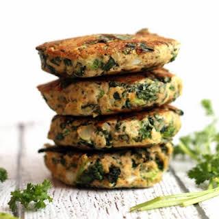 Kale and Broccoli Salmon Burgers.