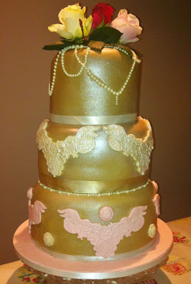 Gold vintage wedding cake