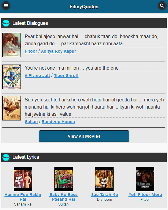 Bollywood Dialogues & Lyrics- screenshot