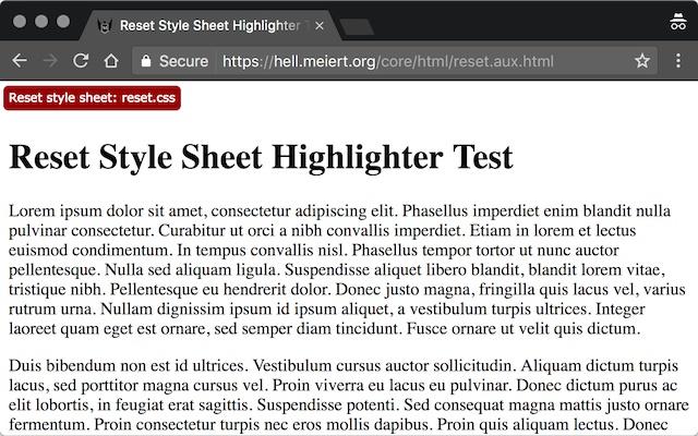 Reset Style Sheet Highlighter