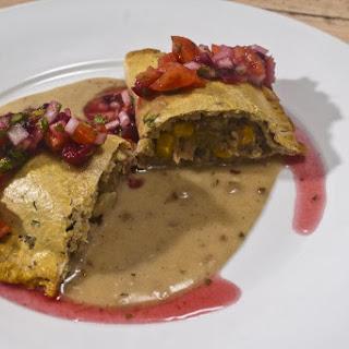 Turkey Dinner empanada with cranberry pico de gallo